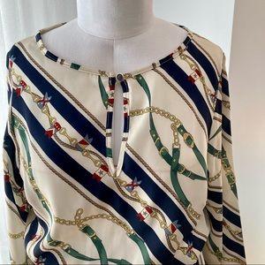 Printed dress sz M elastic waist + puffy sleeves
